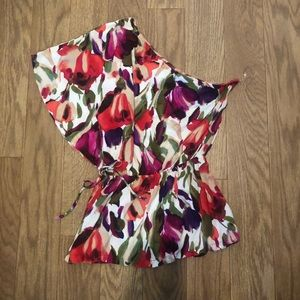 One shoulder floral blouse